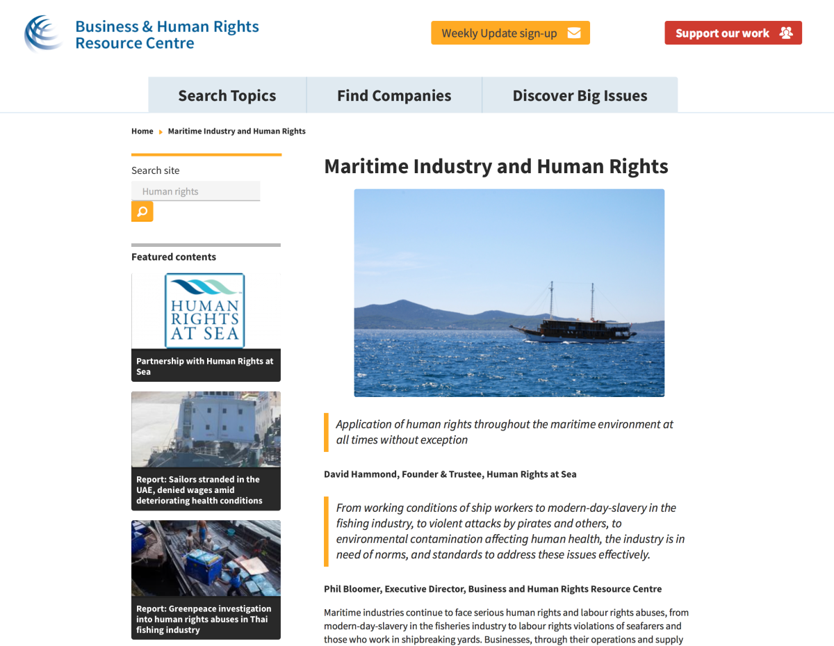 New global Maritime Human Rights Reporting Platform launched