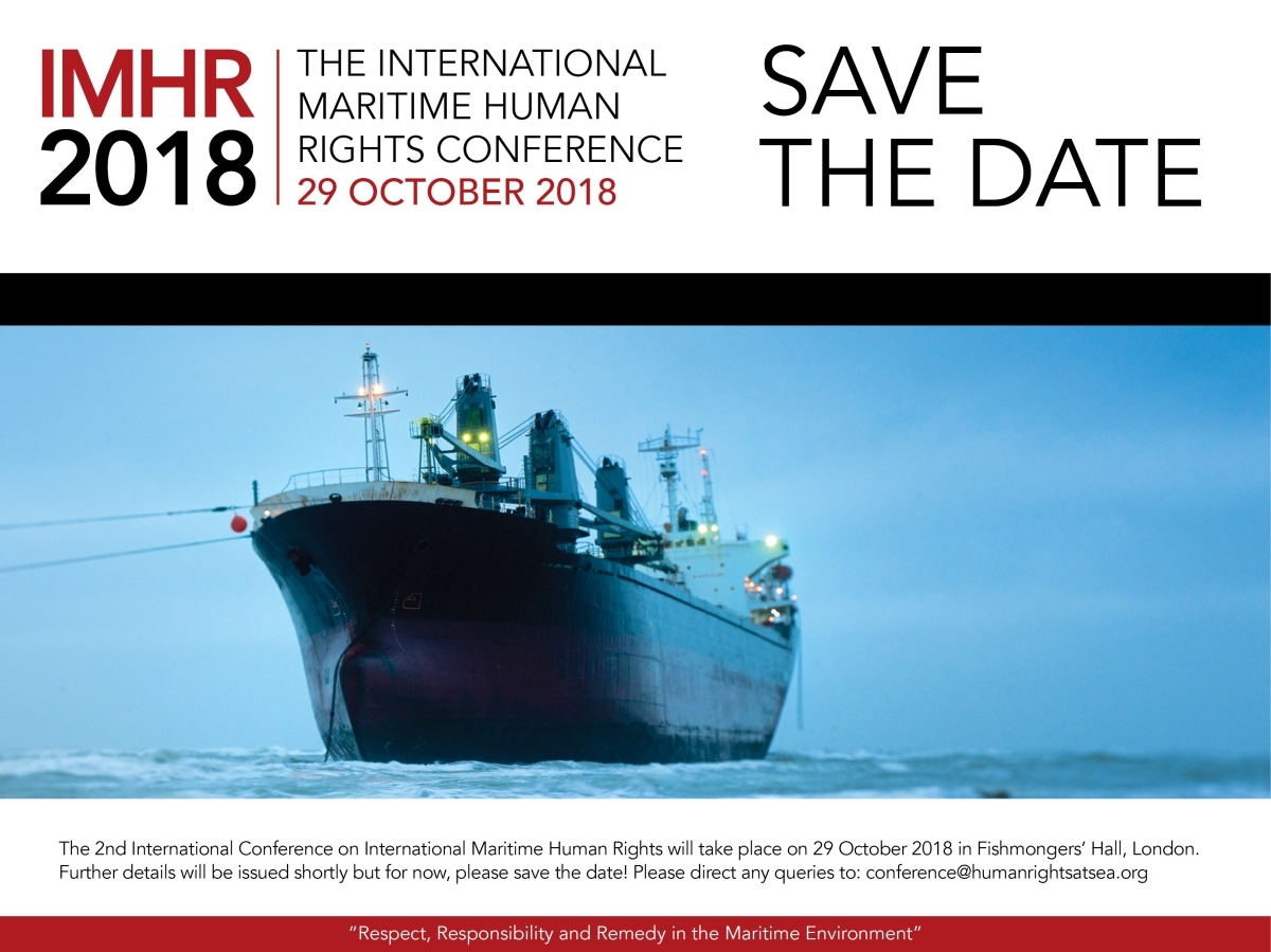 HRAS Announces the Launch of the Second International Maritime Human Rights Conference (IMHR) 2018 on 'Maritime Business and Human Rights'.